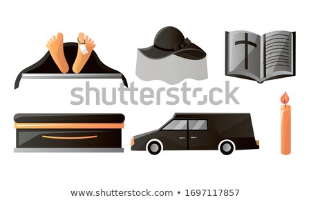 Hearse and coffin cartoon style. Funeral car vector illustration Stock photo © MaryValery