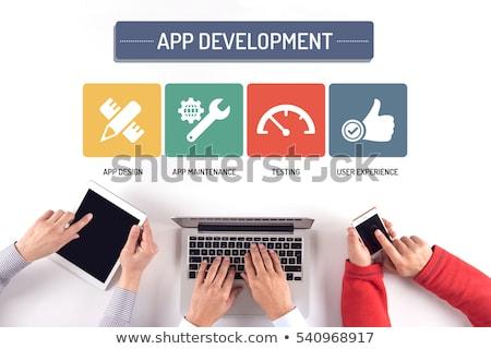 Stockfoto: App · ontwikkeling · doodle · ontwerp · donkere