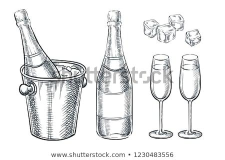 шампанского · очки · рисованной · эскиз · икона - Сток-фото © rastudio