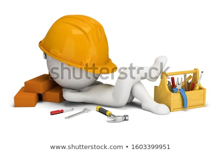 3d small people   sleeps in the workplace stock photo © anatolym