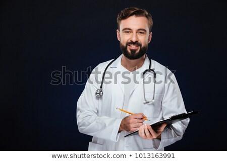 bonito · médico · do · sexo · masculino · em · pé · retrato · isolado · branco - foto stock © deandrobot