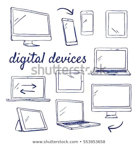 Lijn laptop computer illustrator ontwerp grafische Stockfoto © alexmillos