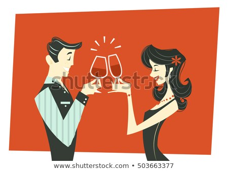 A Man And Woman Toasting Stockfoto © Coolgraphic