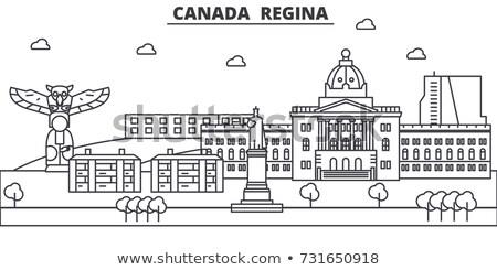 Linha do horizonte ícone simples ilustração distrito comercial subúrbio Foto stock © blamb