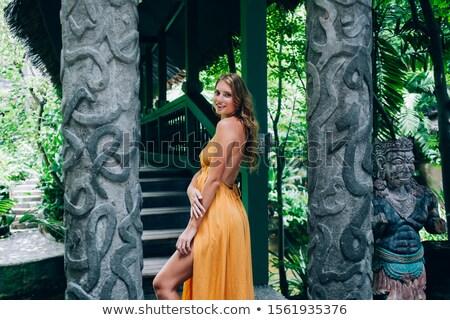 side view of seductive woman wearing an open back dress Stock photo © feedough