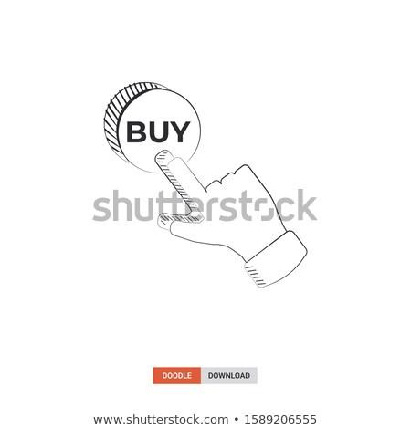 Dedo comprar botón dibujado a mano garabato Foto stock © RAStudio