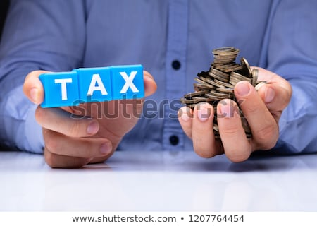 Person Holding Tax Cubic Blocks And Golden Coins Stock photo © AndreyPopov