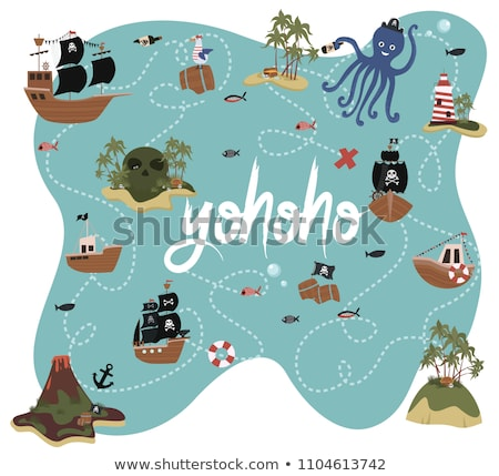 Desen animat mare treasure map ilustrare text fericit Imagine de stoc © cthoman