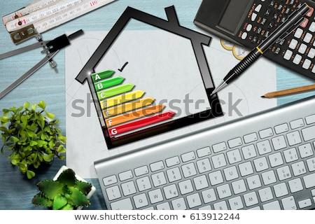 Casa eficiência energética taxa secretária trabalhando Foto stock © AndreyPopov
