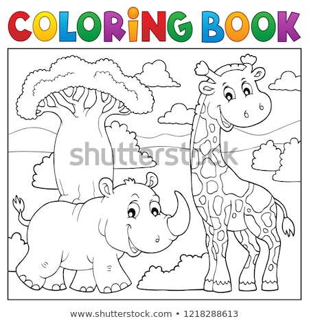 Coloring book African nature topic 2 Stock photo © clairev