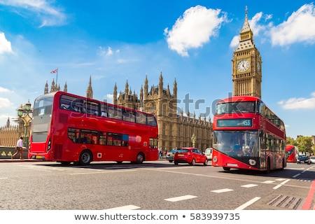 Busz Westminster híd London város óra Stock fotó © vwalakte