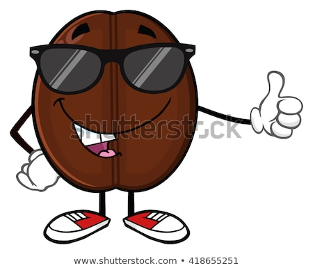 Cute grano de café mascota de la historieta carácter pulgar hasta Foto stock © hittoon