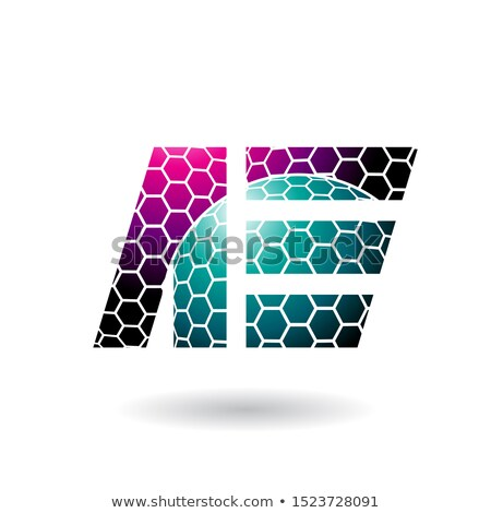 Magenta and Green Dual Letters of A and E with Honeycomb Pattern Stock photo © cidepix