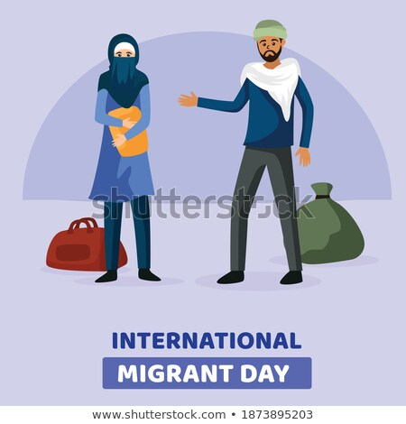 International Migrants Day banner of diverse women Stock photo © cienpies