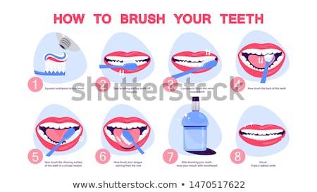 Isolé dents icône blanche fond signe Photo stock © Imaagio