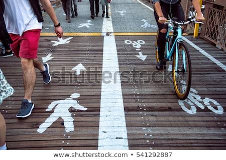 Park scene with bike lane on the road Stock photo © colematt