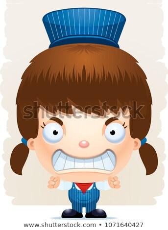 Angry Cartoon Girl Conductor Stock photo © cthoman