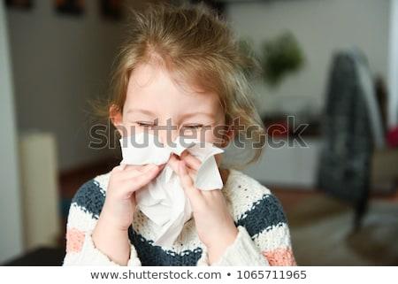 девушки сморкании носовой платок страдание холодно кровать Сток-фото © AndreyPopov