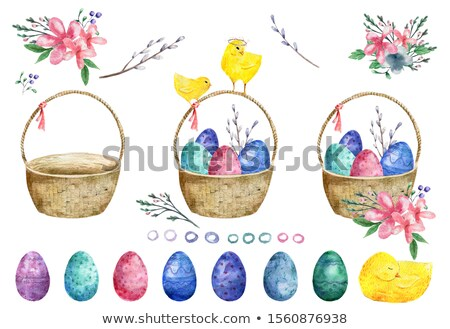 Chickens and little chicks with basket of eggs Stock photo © colematt