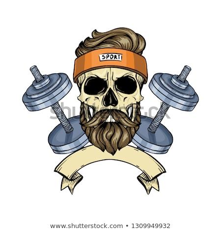 Hand drawn sketch, angry sport skull Stock photo © netkov1