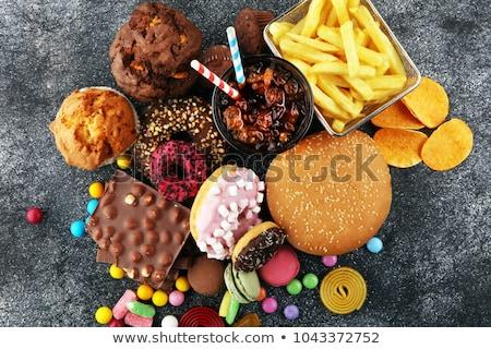 hamburger · frietjes · vork · paars · witte - stockfoto © lightsource