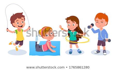 little girls and boys doing gymnastic exercises vector isolated illustration stock photo © pikepicture