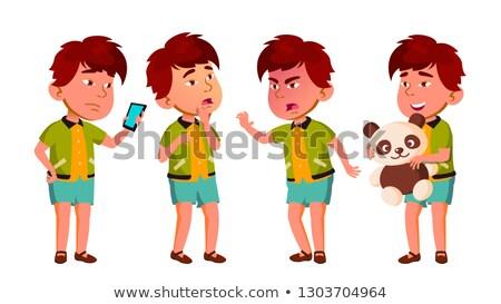 Stock photo: Asian Boy Kindergarten Kid Poses Set Vector. Caucasian Child Expression. Activity. For Banner, Flyer
