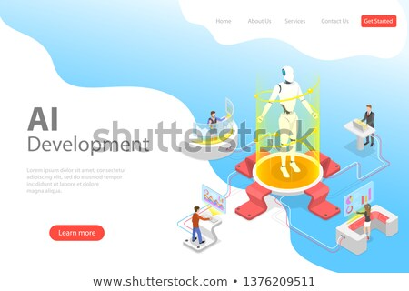 flat isometric vector landing page template of robot and human cooperation stock photo © tarikvision