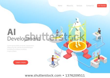 Izometrikus vektor leszállás oldal sablon robot Stock fotó © TarikVision