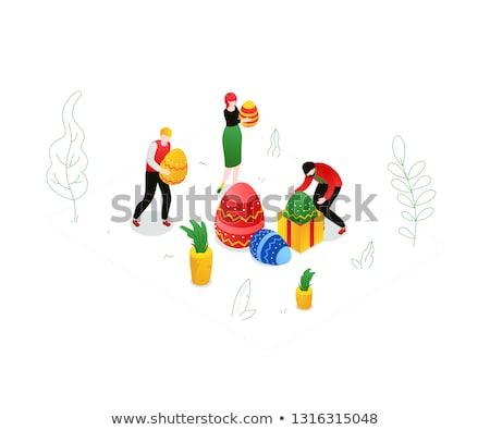 Happy Easter - modern colorful isometric vector illustration Stock photo © Decorwithme