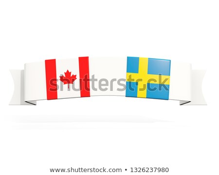 Banner with two square flags of canada and sweden Stock photo © MikhailMishchenko