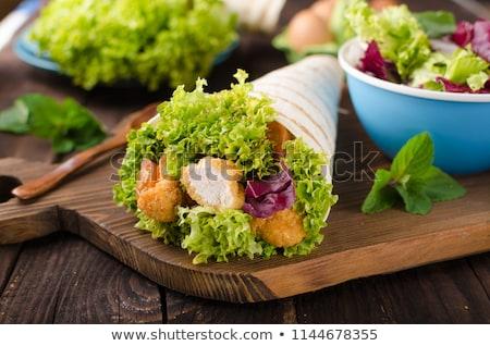 タコス · シェル · 野菜 · 充填 · 食品 · 鶏 - ストックフォト © peteer