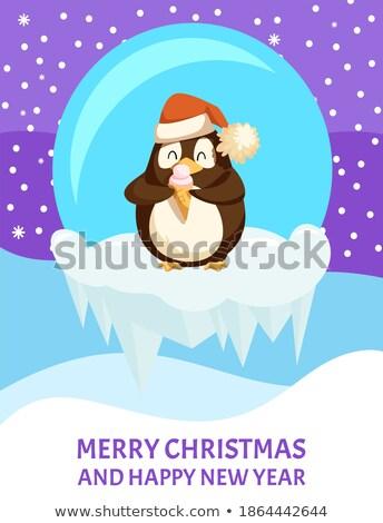 Aranyos sarkköri mikulás kalap fagylalt pingvin Stock fotó © robuart