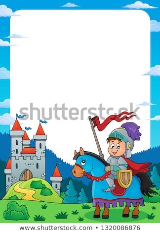 Rycerz konia ramki człowiek zamek chłopca Zdjęcia stock © clairev