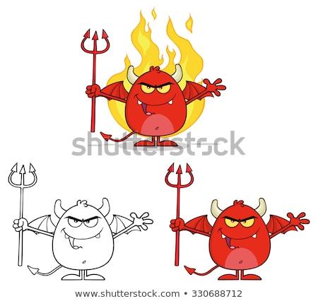 Kötü kırmızı şeytan Alevler Stok fotoğraf © hittoon