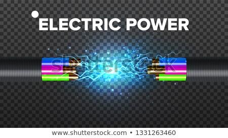 Foto stock: Quebrar · elétrico · cabo · vetor · 3D · realista