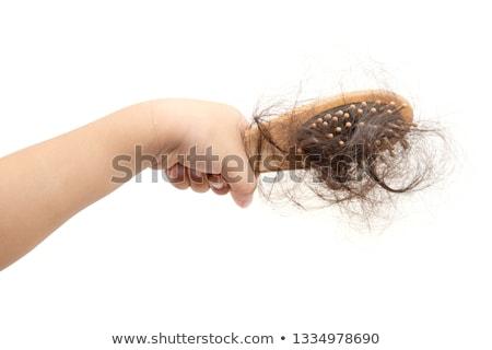 Hand verloren haren borstel menselijke hand geïsoleerd Stockfoto © szefei