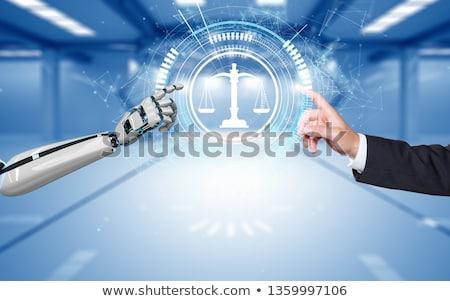 Humanoïde robot main poutre équilibre échelle Photo stock © limbi007