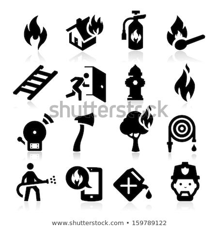 Emergenza fuoco scala icona colore design Foto d'archivio © angelp