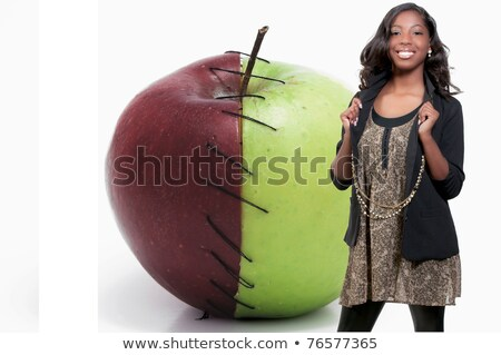 African American Teenager and Granny Smith Apple Stock photo © piedmontphoto
