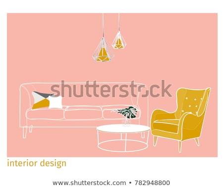 quarto · vermelho · cadeira · gramofone · ilustração · fundo - foto stock © frimufilms