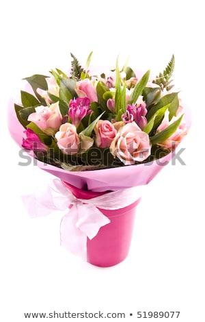 Ramo blanco rosa rosas jarrón boda Foto stock © Melnyk