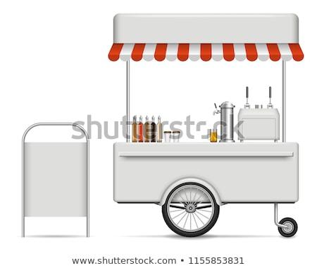 店 屋台の食べ物 コーヒー ホットドッグ コーヒーショップ ベクトル ストックフォト © robuart