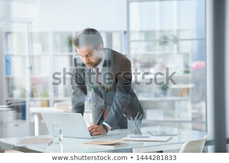 Young elegant businessman bending over desk and laptop Stock photo © pressmaster