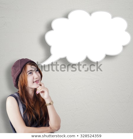 girl thinking with speech bubble concept stock photo © ra2studio