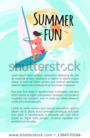 woman wearing swimming suit windsurfing vector stock photo © robuart