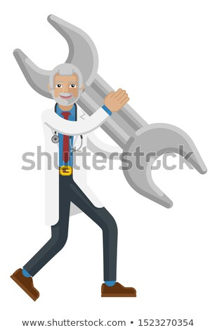 Mature Doctor Man Holding Spanner Wrench Concept Stock photo © Krisdog