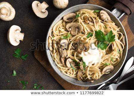 champignons · saus · vers · bieslook · brood - stockfoto © barbaraneveu