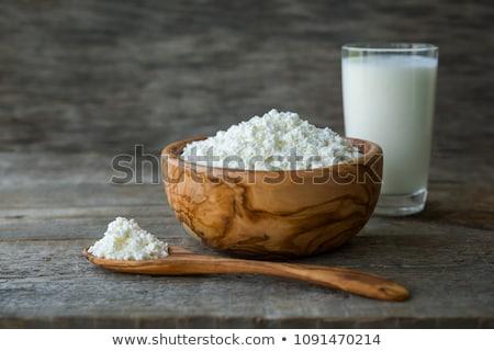 Friss tejtermékek fehér asztal üveg tej Stock fotó © DenisMArt