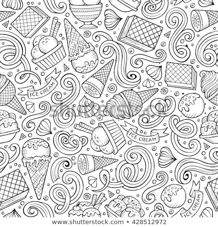 Stock photo: Cartoon hand-drawn ice cream doodles seamless pattern